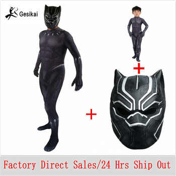 Black Panther Costumes Boys Men T'Challa Costume Jumpstuis Captain America Civil War Movie Male Black Panther Halloween Costume