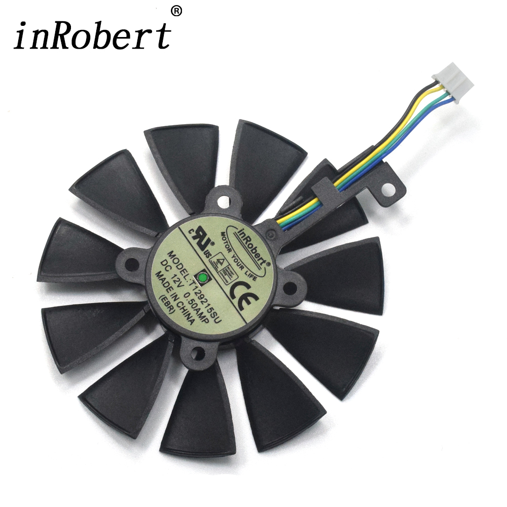 New 87MM T129215SU Cooling Fan For ASUS Strix GTX 980 Ti GTX 1050 1060 1080 1070 RX 480 470 4Pin 0.50A Graphics Card Cooler Fans