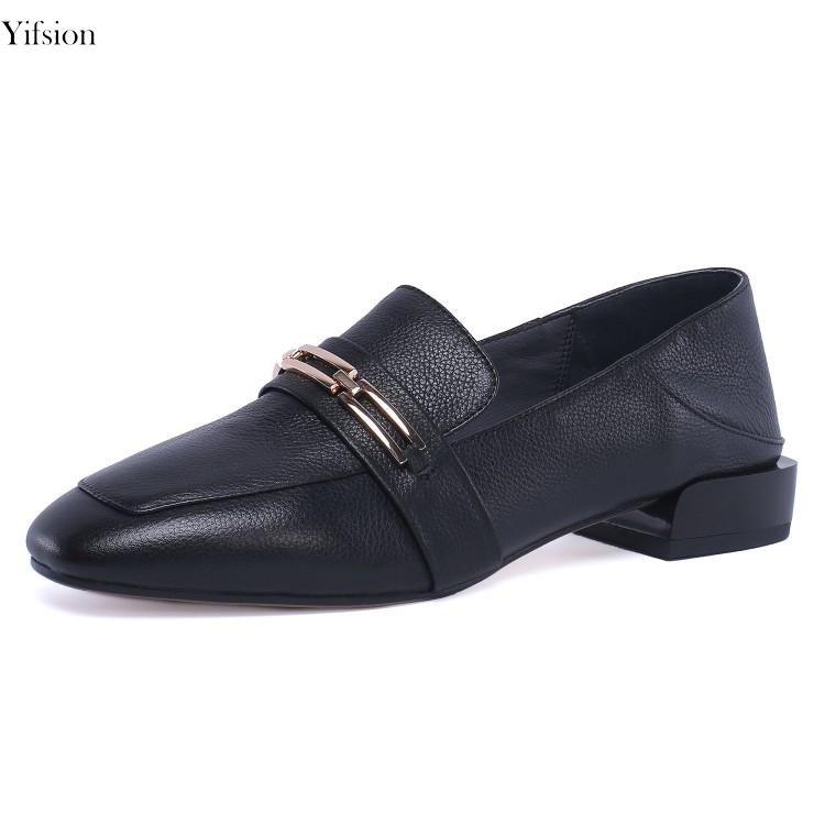 Olomm New Women British Leather Flats Sexy Square Toe Comfort Square Low Heel Black Beige Party