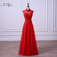 ADLN 2018 Red Lace Evening Dress High Neck Sleeveless Formal Long Party Gown Sexy Open Back