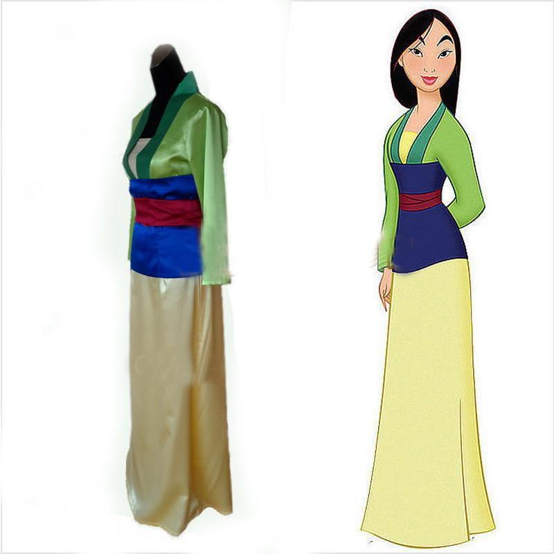 Hua Mulan Green Satin Princess Dress Adult Mulan Costume Skirt Women's Halloween Carnival Party Cosplay Costume Custom
