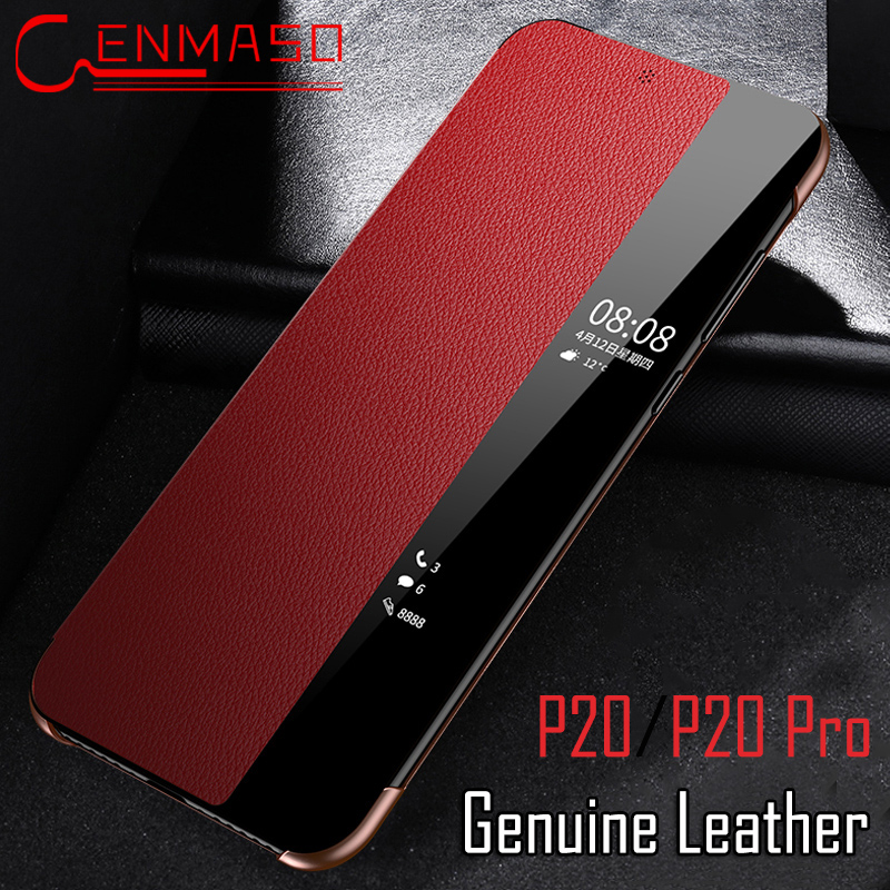 Huawei P20 pro case Huawei P20 flip case cover Smart Touch view window P20pro Genuine leather cover Huawei P20 pro phone coque