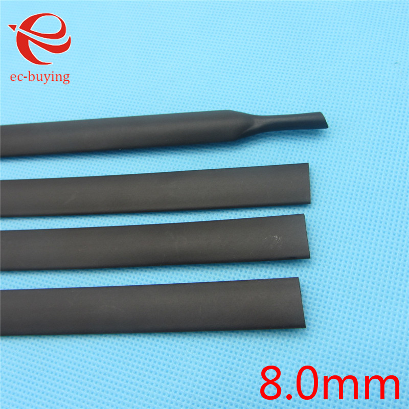 1m Heat Shrink Tubing Heatshrink Black Tube Inner Diameter 8mm Wire Wrap Cable Kit