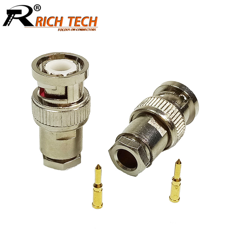 10pcs BNC Male Plug Connector Clamp Type BNC RG58/RG59/RG6 for CCTV Security Coax Coupler Video BNC Connector Adapter 100pcs bnc female socket plug panel chassis solder rg59