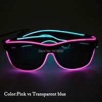 2017 New Style Double Color EL Wire Sunglasses with black lens LED neon rope tube 50pcs Wholesale party glasses