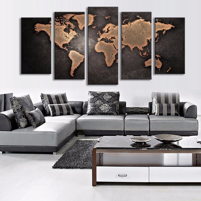 5 Pieces Framed Modular Pictures Home Abstract Wall Art Painting ...