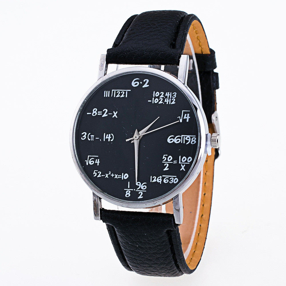 Math Letter Pattern Girls Leather Band Analog Quartz Vogue Watches Fashionable Relogio Masculino Men Watch Relojes Mujer 2019
