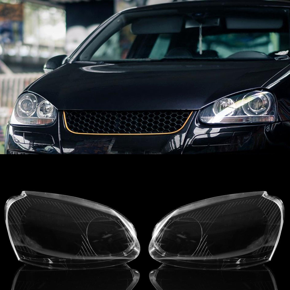 JX-LCLYL 1pair Headlight Clear Lens Cover For VW MK5 Rabbit Jetta GTI 06-09 R32 08