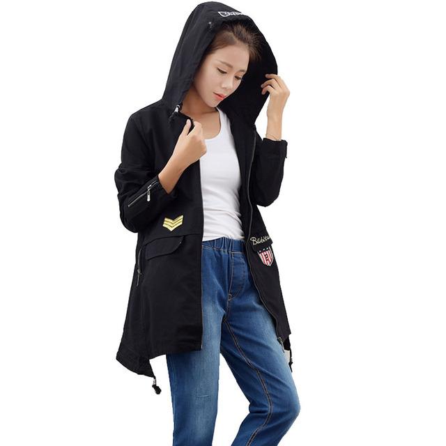 Outono E Inverno Blusão Para As Mulheres Trench Coat Com Capuz de Algodão Verde Do Exército Casaco longo Casual Feminina Plus Size Preto Legal casaco