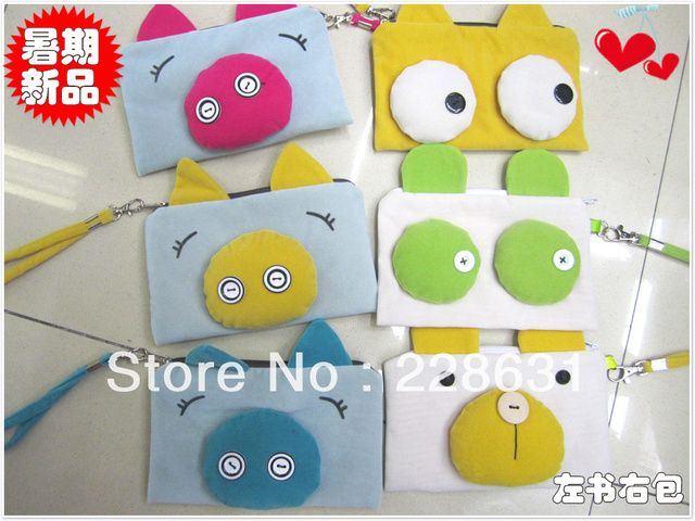 Primary school students child short plush button shote stereo pencil case coin purse