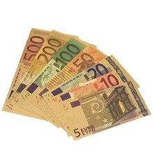 7 шт. 24K позолоченные евро поддельные деньги памятные заметки коллекция Сувенир Высокое качество Античное покрытие украшения 5-500 долларов