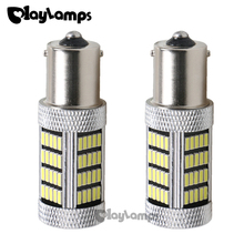 2x white P21W 1156 BA15S 92 SMD Lens Led Car Lights Bulbs 900 Lumens 12V Auto Replacement Bulb RV Camper for Stop Brake Bulbs