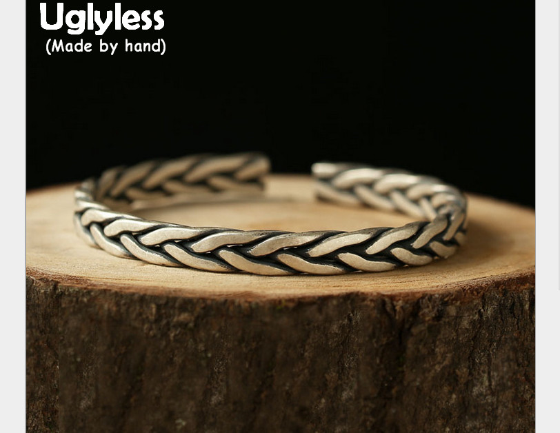 Uglyless S 990 Fine Thai Silver Women Twist Bangles Personalized Wide Bangle Ethnic Handmade Weave Texture Jewelry Cool Bijoux s cool шарф для мальчика s cool