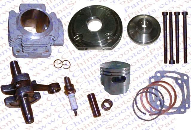 Performance Cylinder Head Piston Ring Crankshaft Kit (Big Bore Kit) for 47CC 49CC Mini Dirt Pit Bike Parts