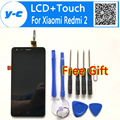 Para xiaomi redmi 2 display lcd + painel touch screen digitizer + ferramentas substituição assembleia de tela para xiaomi hongmi 2 red rice 2