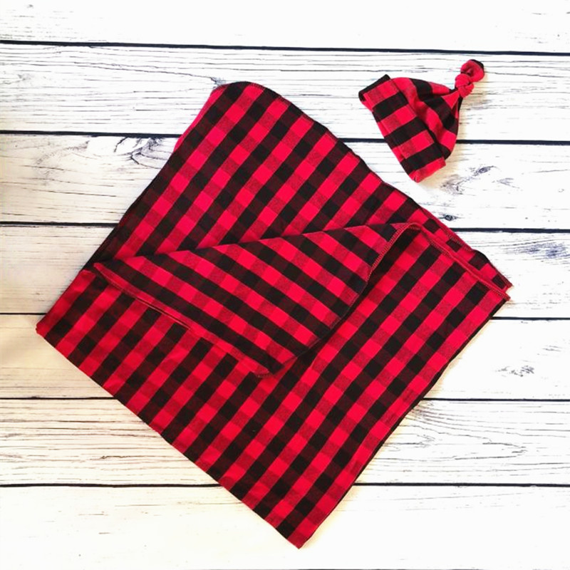 Seartist Newborn Christmas Swaddle Blankets Red Plaid Blanket Hat Bebes Baby Swaddles Toddler Infant Hold Wraps Custom made 25C in Blanket Swaddling from Mother Kids