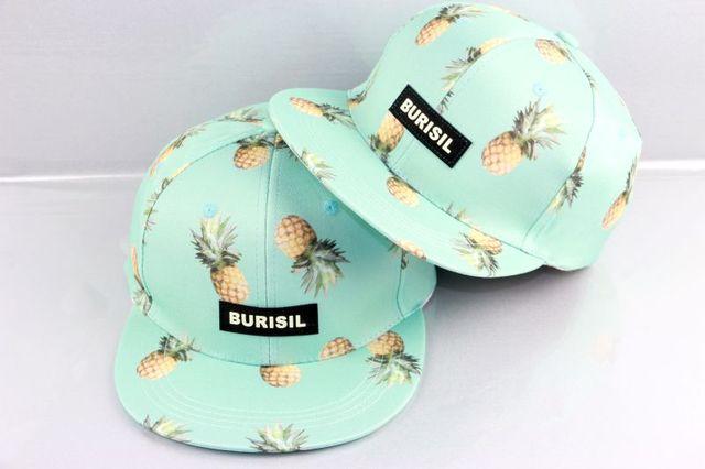New Summer Spring Baseball Cap With Pineapple Printed 2017 Fishing Hockey Golf Snapback Cap For Women Men Dad Hat Hip Hop Hats