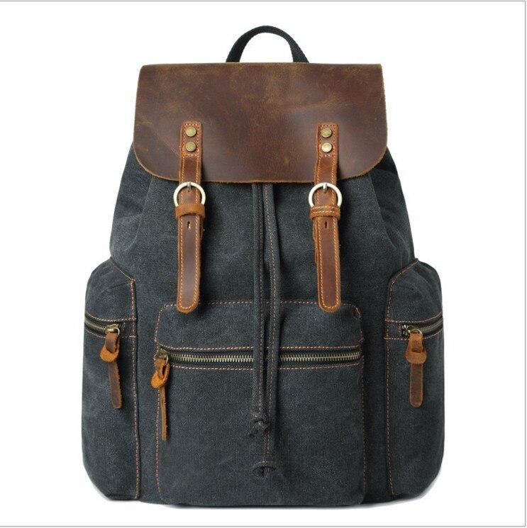 FLug Katze Men's canvas SUB Backpack Vintage School Bag Rucksack casual Leisure Travel Bag Men's Laptop Backpacks