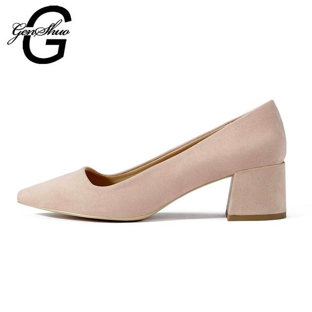 Women Low Heels Pumps Dress Shoes Women Elegant Chucky Square Heels Ladies EUR Size 35-41 Black Party Office Shoes For Work