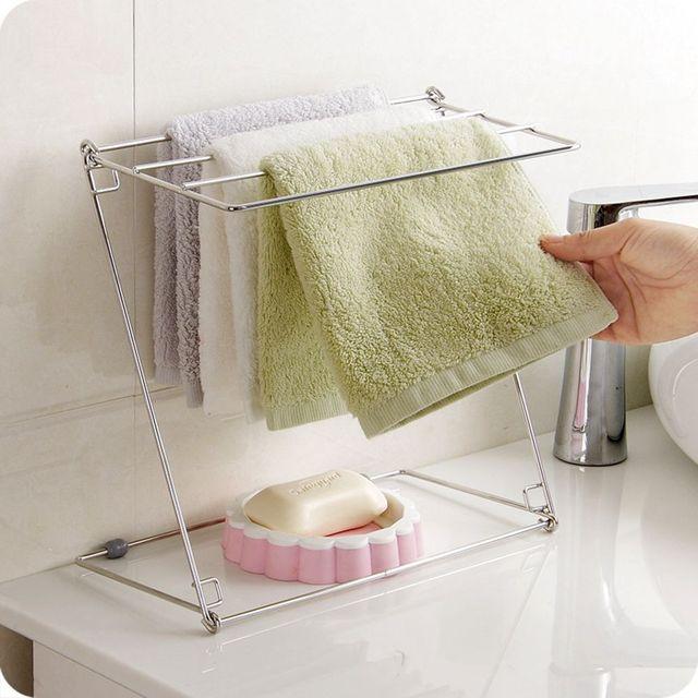 Stainless Steel Folding Towel Stand Rack 4 Layers Kitchen Washing Cloth  Draining Organizer Shelf