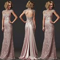 Open Back 2017 Mother Of The Bride Dresses Mermaid Cap Sleeves Pink Lace Beaded Long Evening Dresses Mother Dresses For Wedding