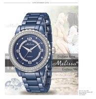 Любителей моды синий Керамические часы элегантные модные Для мужчин Для женщин браслет наручные часы кристаллы кварца relogios Montre Femme f8147