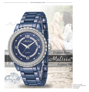Image 1 - Fashion Lovers Blue Ceramic Watches Elegant Fashion Men Women Bracelet Wrist watch Crystals Quartz Relogios Montre Femme F8147