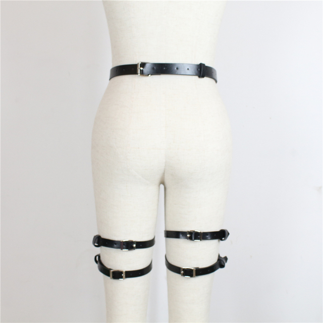 Erotic Leather Harness Belt For Stocking Female Leg6