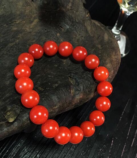 free shipping 11mm Baoshan Nanhong Origin Yunnan Yanzhi Nanhong Agate Bracelet Persimmon Red Natural Full flesh Full color