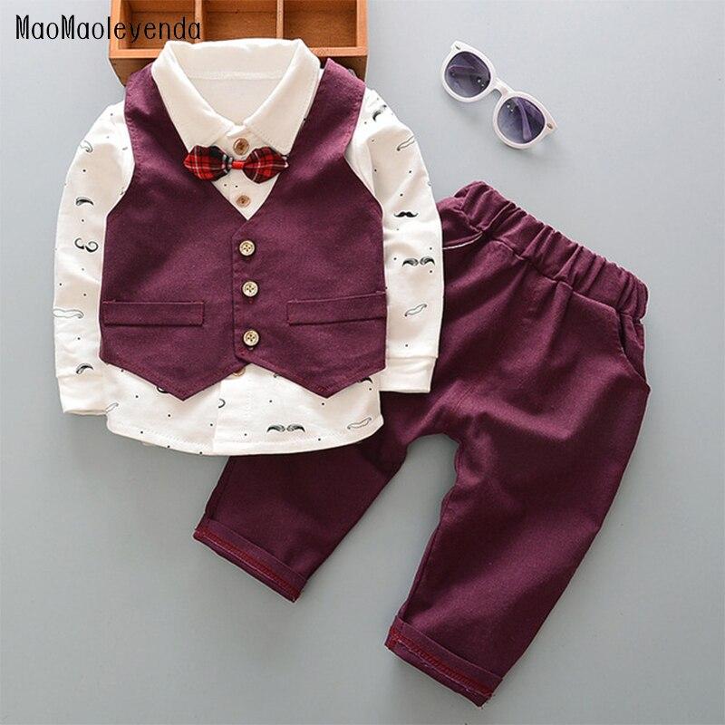 maomaoleyenda Baby Boys Clothing Set Bebe Beard Shirt Vest Pants 3pc/set Clothes Sets Boy Kids Suit Gentleman Children Outfit стоимость