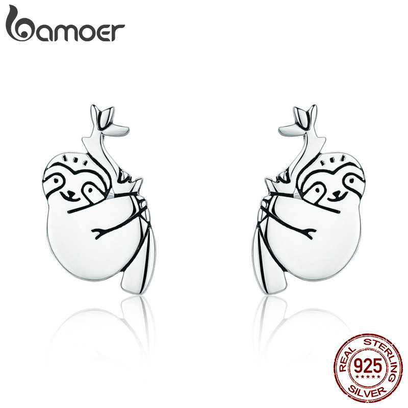 BAMOER Hot Sale 100% 925 Sterling Silver Lovely Sloth Animal Small Stud Earrings for Women Sterling Silver Jewelry S925 SCE327 creative 3d animal earrings cartoon cat kitten lovely ear stud earrings jewelry
