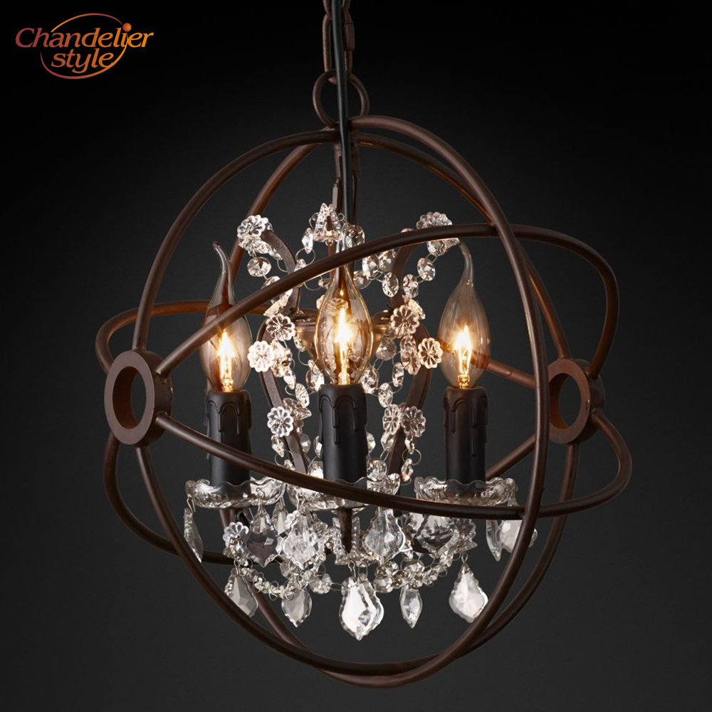 Image 2 - Foucaults Orb Clear Crystal Chandelier Lighting Rustic Candle Chandeliers LED Pendant Hanging Light for Living Dining Room-in Chandeliers from Lights & Lighting