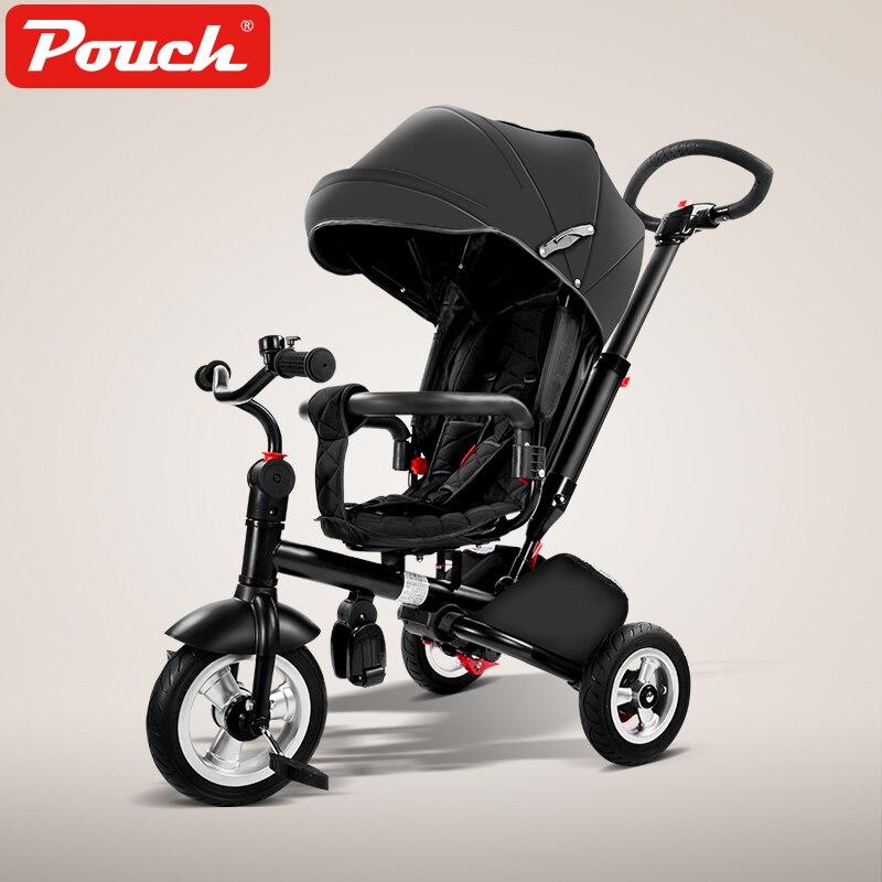 Pochette 360 degrés pivotant Tricycle chariot bébé poussette enfants vélo poussette 3 en 1 bébé parapluie voiture trois roues vélo
