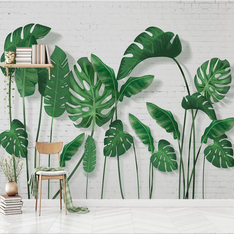 Customize Any Size 3D Hd Photo Wallpaper Mural Art Wall Photo Wall Mural Home Decor Wallpapers for Wallpaper Murals Green Leaf mural wallpapers tiles home decor photo background tiles photography color lines of glass mosaic hotel bathroom large wall i2029