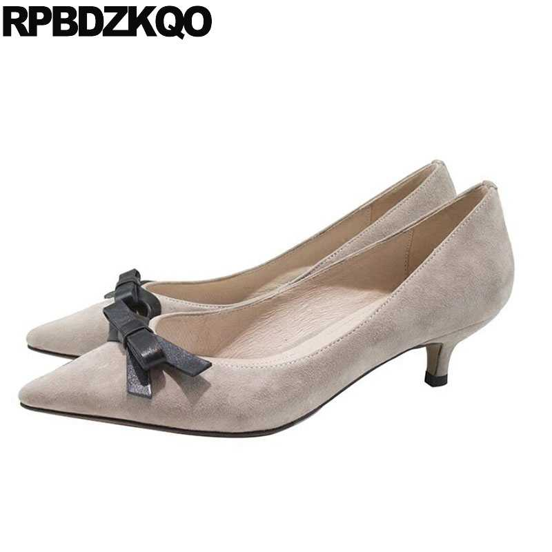 c7c366b360 Bow Size 33 Cute 2018 3 Inch Pumps Korean Medium Heels Pointed Toe 4 34  Thin Kawaii Sweet Kitten Nude Blue Suede Shoes Women