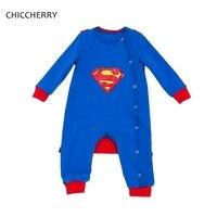 Blue Superman Baby Boy Clothes Long Sleeve Purim Boy S Bodysuit Smock Set Roupa Garoto Baby