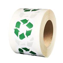 White and Green Recycle Logo Stickers, 1.5 Inch Round Environmental Label, Trash Can Stickers