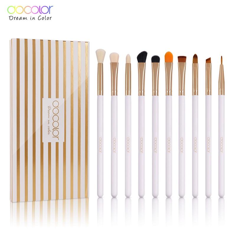 Docolor 10PCS Makeup Brushes Eye brow brush Eyeshadow Eyeliner Lip Brushes for Makeup Eye Make Up Brushes