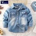 2016 otoño e invierno moda niños chicos camisa de algodón lavado camisa de mezclilla azul