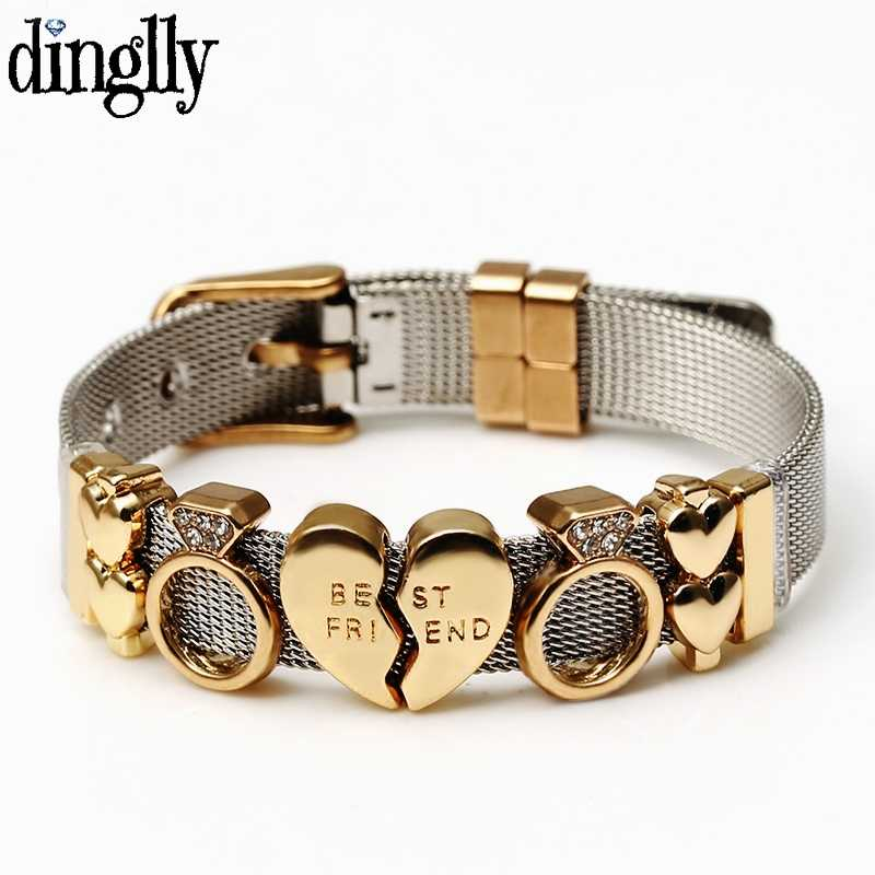 DINGLLY New Two-tone Silver Stainless Steel Mesh Bracelets For Women Men Golden Love Beads Brands Mesh Bracelet & Bangles Gifts