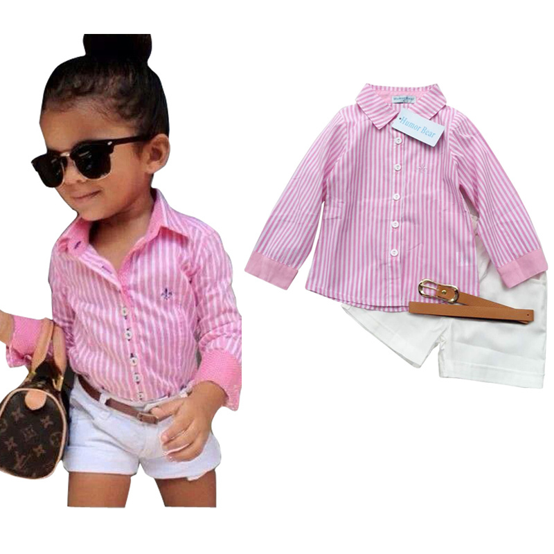 New Summer Europe American girls pink striped shirt+shorts+belt 3pcs girls clothing sets suit Fashion children kids girl clothes 2015 summer style girls clothes children clothing set girls clothing sets new family shorts shirt shorts belt ensemble fille