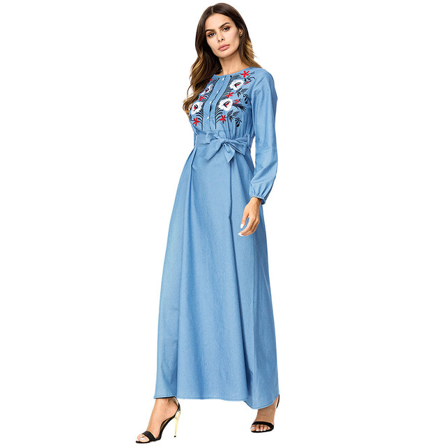 Fashion Flower Embroidery Denim High Waist Dress women plus size maxi  dresses Bow slim sashes Empire swing dress Arab Muslim 4XL 102bd5333536