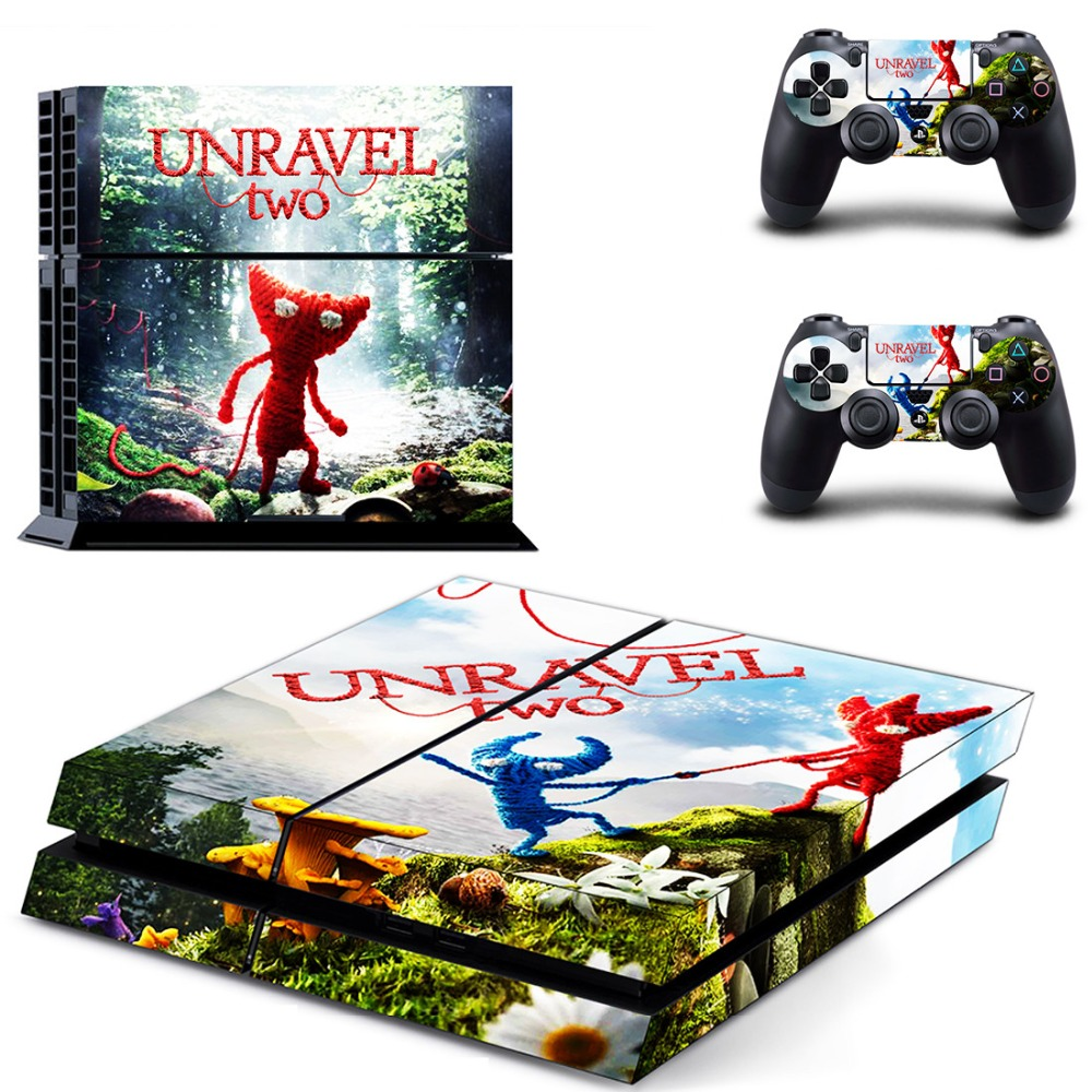 Game Unravel TWO PS4 Skin Sticker Decal for Sony PlayStation 4 Console and 2 Controller Skin PS4 Sticker Vinyl Accessory