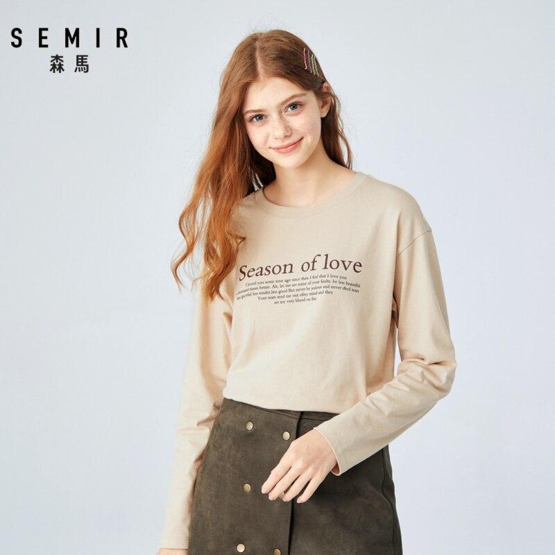 SEMIR Long sleeve T-shirt female 2019 autumn new chic t shirt cotton long letter printed round neck pullover tshirt Korea