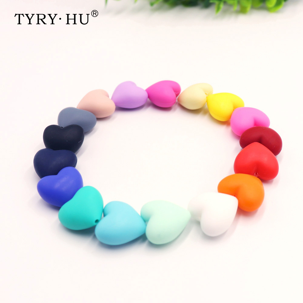 TYRY.HU 10pc Silicone Baby Pacifier Beads Teething Chewable Newborn Nursing Teether Beads Teething Necklace Accessories