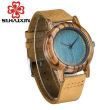 SIHAIXIN Em Madeira De Luxo Relógios Das Mulheres Com Caixa Azul Antique Relógios de Pulso Ocasional Relógio Pulseira de Couro Senhoras Relógio de Madeira Como Feminino