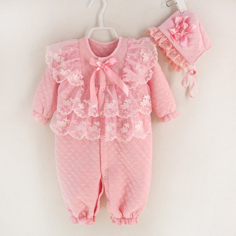 Nyfødte Baby Jenteklær Air Cotton Winter Thicken Coveralls Rompers Prinsesse Blonder Spedbarn Jenter Klær Set Jumpsuit + Hatter