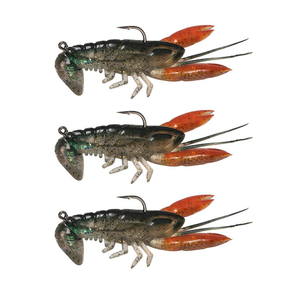 Lixada 1pcs 3pcs fishing lure bait 8cm soft fake crawfish for Fishing with crawfish