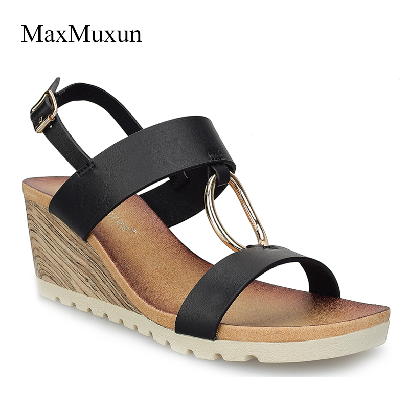 MaxMuxun Women Shoes Comfort Slip On Classic High Platform Wedge Sandals 2018 Summer Ladies Open Toe Buckle Strap Thick Shoes taoffen women shoes women sandals wedge heels platform summer shoes leopard slip on slippers trend fashion shoes plus size 33 43