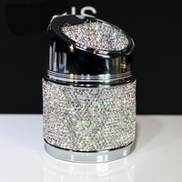 Luxury Crystal Rhinestones Car Ashtray Cup Holder Metal With Diamond Auto Ashtrays Portable High Class Gifts